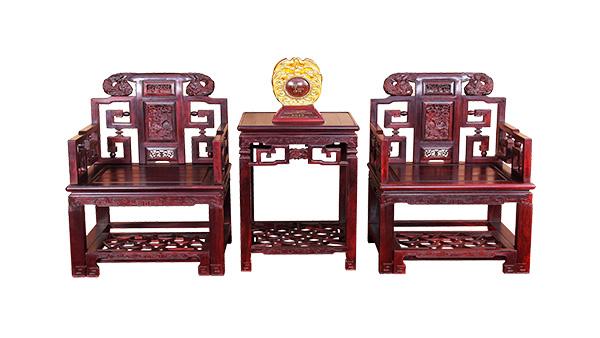 小叶紫檀 双狮太师椅