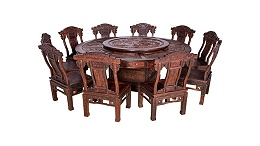 大红酸枝 八仙过海雕花餐桌