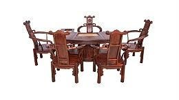 大红酸枝腰型茶台