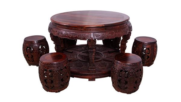 大红酸枝鼓凳圆桌
